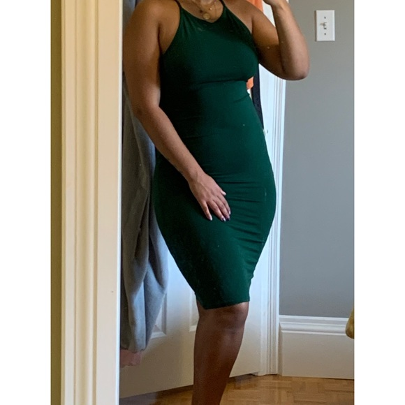 Green bodycon midi dress